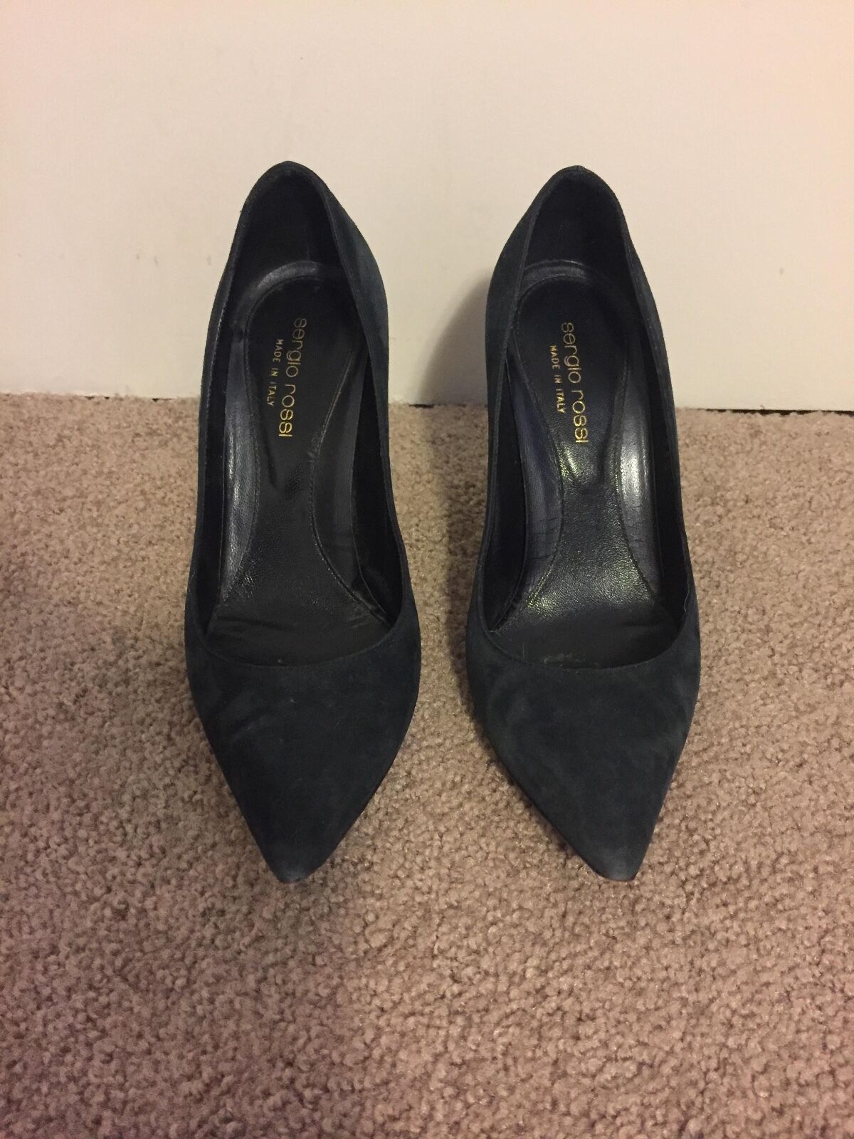 Sergio Rossi black suede leather pumps (women's size 35.5)