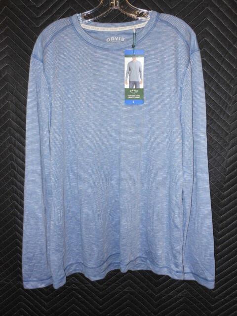 Orvis Mens Cascade Long Sleeve Crew Neck Shirt XXL, Royal Blue