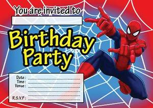 Spiderman childrens birthday party invitations invites kids 102030 image is loading spiderman childrens birthday party invitations invites kids 10 stopboris Choice Image