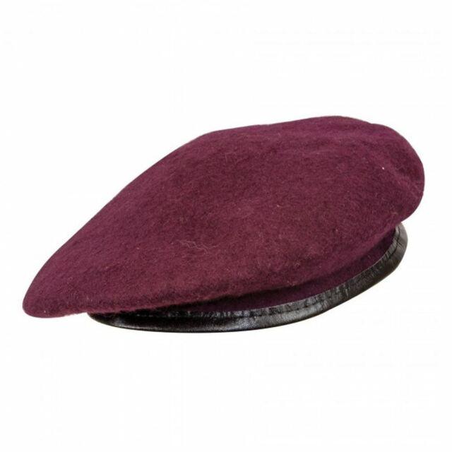 1e1fff28739cc0 Highlander 100 Wool Beret Leather Trim Military Cap Small Maroon for sale  online | eBay