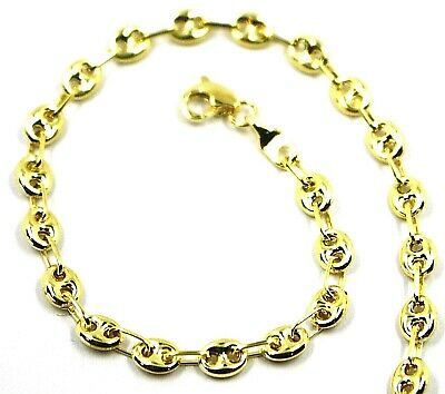 19CM 9K YELLOW GOLD NAUTICAL MARINER BRACELET OVALS 3.5 MM THICKNESS 7.5 INCHES
