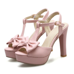 Women-Platform-Gladiator-Sandals-Bow-PU-Open-Toe-Stiletto-High-Heel-Pumps-Shoes