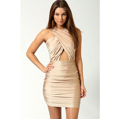 Crossover Front Cut Out Waist Bodycon Dress Ivory