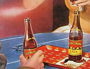 1943-NEHI-CORP-12-X-16-RC-Cola-cardboard-ROYAL-CROWN-WWII-era-AD-bar-setting