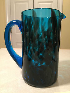 Vintage Hand-Crafted MODERN ART-GLASS PITCHER Blue & Black Spotted Smoke Glass