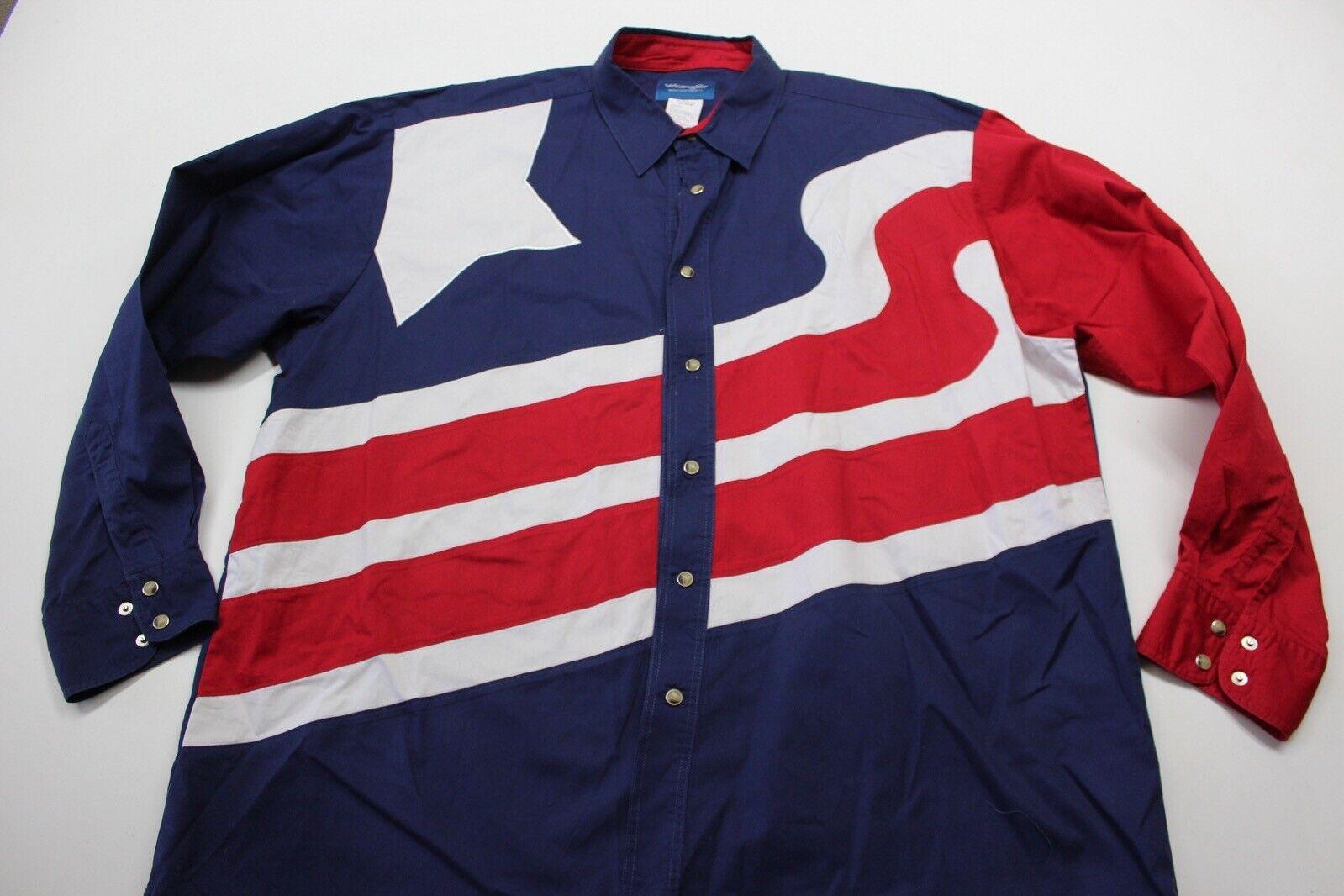 Wrangler USA State Flag Pearl Snap LONG SLEEVE SHIRT XL 17.5 x 36 37