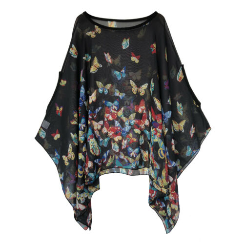 Lagenlook Waterfall Kaftan Floral Poncho Chiffon Loose Batwing Tunic Tops Blouse