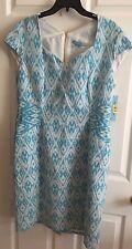 Antonio Melani, Size 14 Pencil Dress, Sky Blue/Ivory Pattern, New With Tags