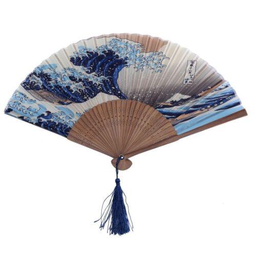 Spitze Bambus Faltbar Handfaecher Dunkel Blau und Weiss Welle Muster  Z2S8