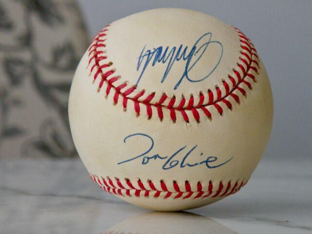 GREG MADDUX, JOHN SMOLTZ, TOM GLAVINE SIGNED 1997 WORLD SERIES BASEBALL JSA LOA