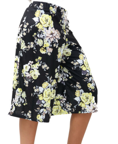 Womens Plus Size Floral Print Shorts Elasticated Stretch Waist Baggy Culottes