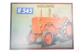 TARGHETTA in Lamiera pubblicità con loghi Pubblicità Hanomag R 545 Trecker Nuovo Decorazione lesinare + CORTE  </span>