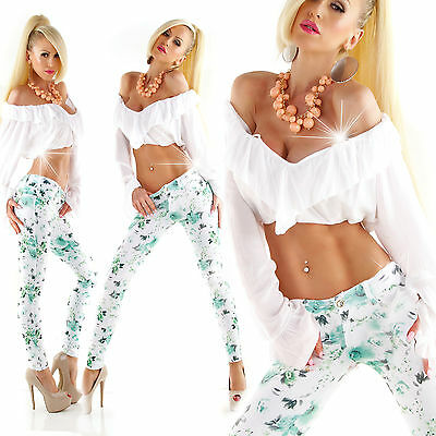 New Sexy Women Clubbing Floral Trouser Ladies Skinny Jeans Pant Size 6 8 10 12 S