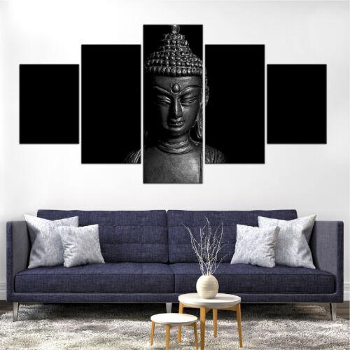 Buddha Statue B/&W Canvas Print Painting Framed Home Decor Wall Art Poster 5Pcs