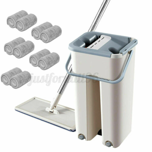 10Pcs Mops 360° Flat Squeeze Microfiber Mop and Bucket Set Home Floor Cleaning