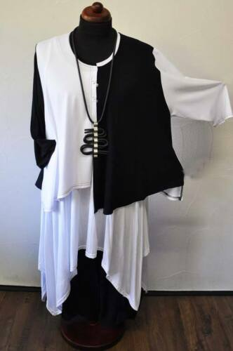 Lagenlook Asimétrico Jersey-Strickjacke Negro y Blanco 48,50,52,54,XL,XXL De ,