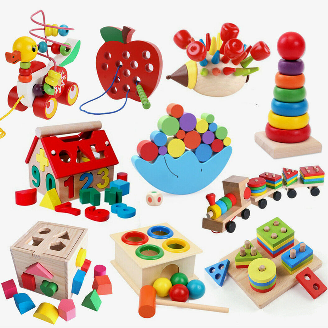 Wooden DIY String Beads Alphabet Puzzle Board Blocks Kids Early Educational Toys 2