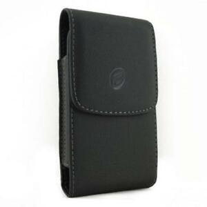 BLACK LEATHER PHONE CASE SIDE COVER POUCH BELT HOLSTER with ROTATING CLIP - K54