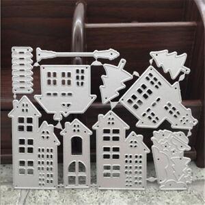 Stanzschablone-Haus-Weihnachten-Neujahr-Hochzeit-Oster-Geburtstag-Karte-Album