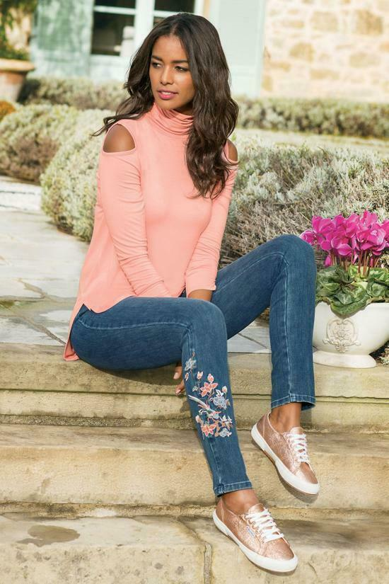 NWT - SOFT SURROUNDINGS Women's 'METRO LEGGINGS' Flora SKINNY - LARGE