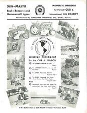 Sun Mastr Sunflower Industries Reel Flail Mower Brochure Ih Farmall Cub Lo Boy
