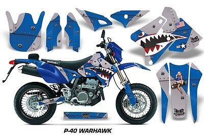 Suzuki Graphic Kit AMR Racing Bike Decal DRZ 400 Decal MX Part 00-13 WARHAWK BLU