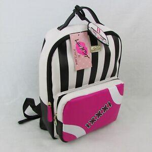 Betsey-Johnson-Backpack-Black-White-Stripe-Pink-Football-Womens-Bag-LBPLAY