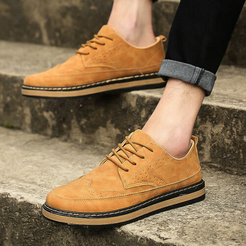 Men/'s Leather Shoes British Style Oxfords Casual Brogue Wingtip Lace Pointed Toe