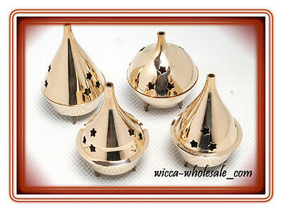 Lot of 4 Assorted Brass /& Stones Censer Incense Charcoal Cone Resin Burner 4/""