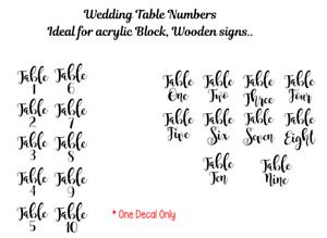 célébrations D.I.Y Décoration Table De Mariage Numéro Autocollant Vinyle Autocollant Fête