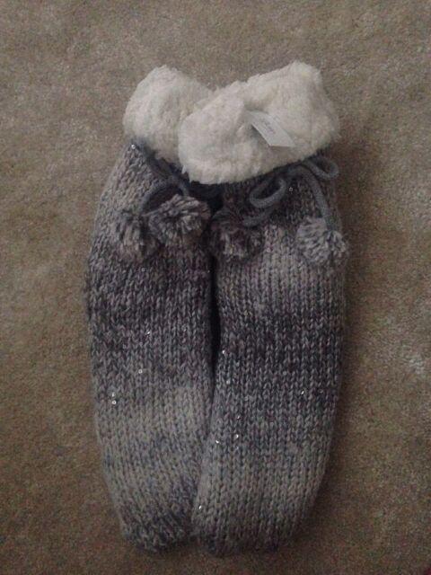Boux Avenue Grey Silver Sequin Slipper// Bed Socks Winter