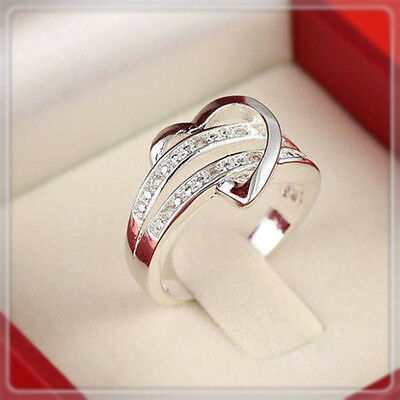 Silver Plated Ring Finger Band Crystal Heart Shape Love Women Size 5-11 Hot E