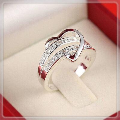 Silver Plated Wedding Ring Rhinestone Women US Size 5-11 Cool B