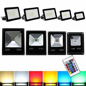 LED Fluter Außen Strahler Flutlicht Scheinwerfer Garten Lampe RGB IP65 10-100W