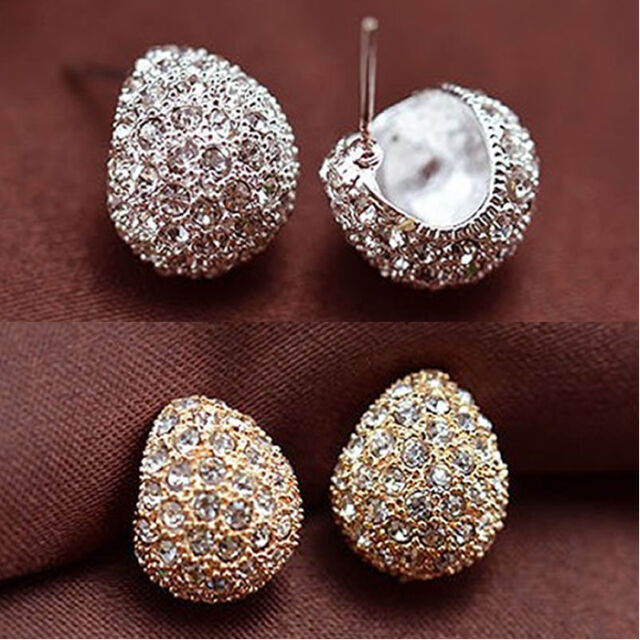 New Silver / Gold Color Fashion Cute Sweet Attractive Full Crystal Stud Earrings