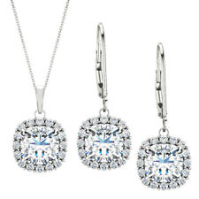 Genuine 2.40 tcw. 6mm Cushion White Topaz & Created White Sapphire Set