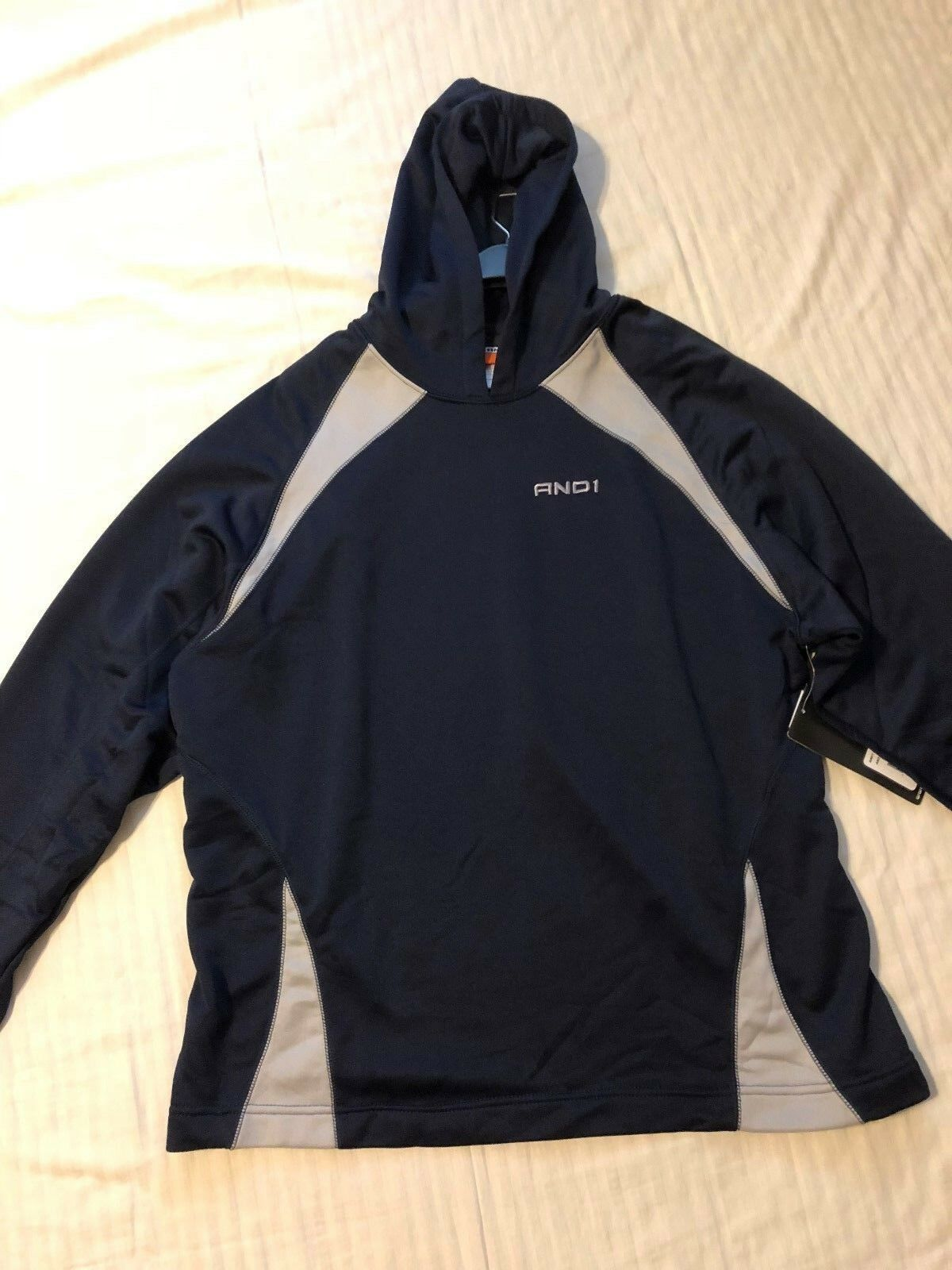 AND 1: Men's Long Sleeve Basketball Hoodie: Navy w/Gray Trim, L & XL