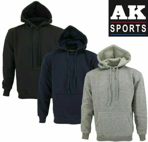 New Mens Hoodies Pull Over Hooded Kangaroo Fleece Plain Jacket Coat Warm Jumper