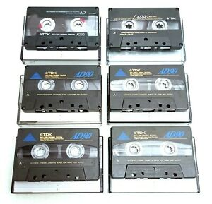 6-x-TDK-AD90-Cassette-Tapes-IEC-I-TYPE-I-Normal-Position-Super-Low-Noise