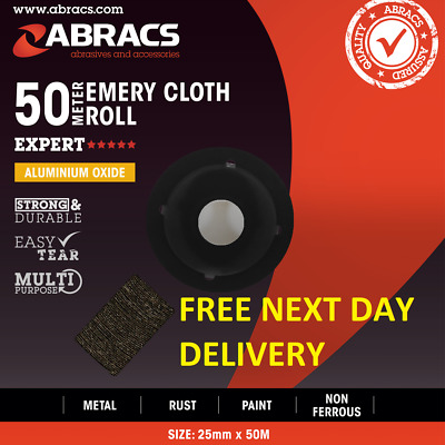 "Abracs 50mtr ROLL 80 grit Blue Twill 50mm 2/"" Emery Cloth Tape Engineering Grade"