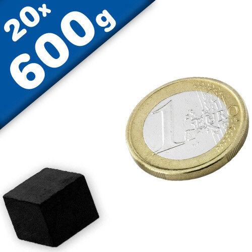 20 x Quadermagnet 12 x 12 x 10mm Ferrit Y35 hält 600g Keramik-Magnet-Quader