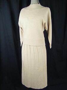 LOFTIES-Vtg-50s-Beige-Wool-Chenille-Dolman-Sleeve-Top-amp-Skirt-Bust-43-Waist-30