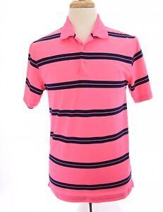 Nike-Golf-Mens-Dri-Fit-Tour-Performance-Polo-Shirt-Neon-Pink-Blue-Sz-Medium