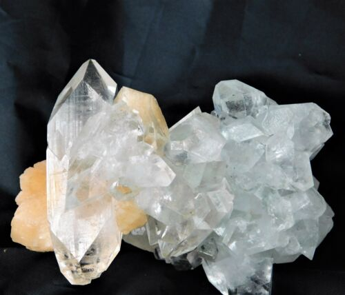 4 Large Apophyllite + Stilite Zeolite Mineral Crystal India Double Terminated