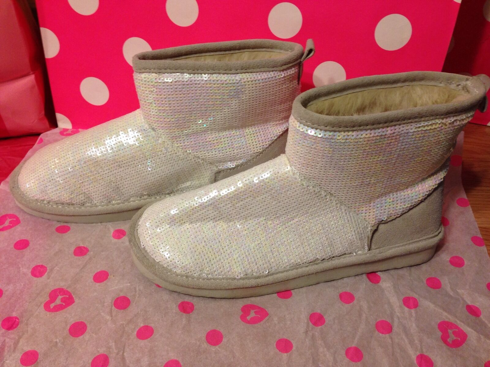 Victoria's Secret PINK Bling Sequin Mukluk Booties Boots Slippers Medium 7-8