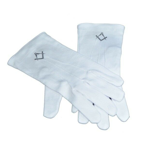Mens Plain White Cotton Gloves with Silver Masonic Design (Without G) XLFG008