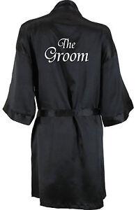 Image is loading Personalised-Mans-Wedding-Robe-Black-Dressing-Gown-Bride- 94dcd31fd