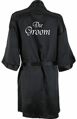 Personalised Mans Wedding Robe Black Dressing Gown Bride Groom Mother Hot Pink
