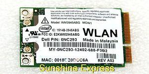 Dell XPS M1710 Notebook Intel PRO/Wireless 3945ABG Network Windows 7 64-BIT