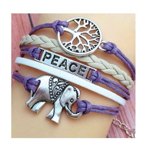 14e02f62289dd Purple Peace Elephant Bracelet Leather Wrap Cuff Meditation Yoga Spiritual  Tree